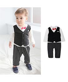 Pre Order - Petite Kids Baby Boy Coat Romper - White & Black