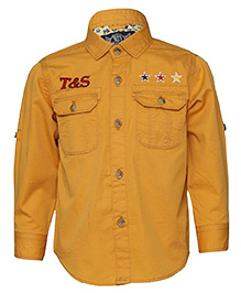 Tales & Stories Full Sleeves Denim Shirt Embroidered Stars - Yellow