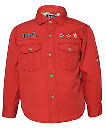 Tales & Stories Full Sleeves Denim Shirt Embroidered Stars - Red