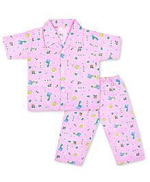 KID1 Tall Giraffe Tales Night Suit - Pink