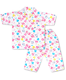 KID1 Cute Teddy Night Suit - White & Pink