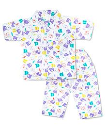 KID1 Cute Teddy Night Suit - White & Purple