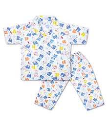 KID1 Cute Teddy Night Suit -White & Blue