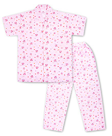 KID1 Zoom Zoom Night Suit - Pink
