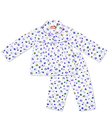 KID1 Icecream & Cupcakes Night Suit - White & Purple