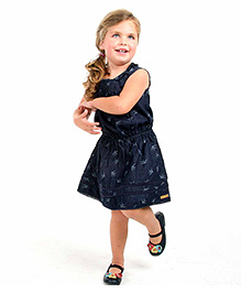 Cherry Crumble California Washed Denim Bird Print Dress For Girls - Blue