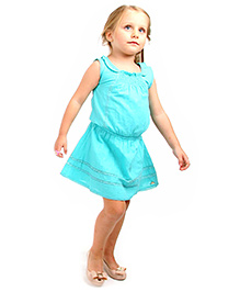 Cherry Crumble California Fit & Flare Dress For Girls - Sea Green
