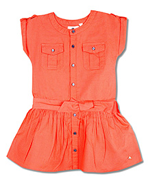 Cherry Crumble California Fit & Flare Dress For Girls - Orange