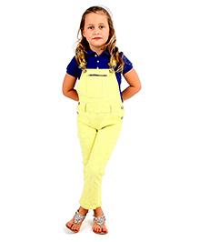Cherry Crumble California Twill Print Dungaree For Girls - Yellow