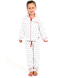 Cherry Crumble California Night Suit Set For Girls - White