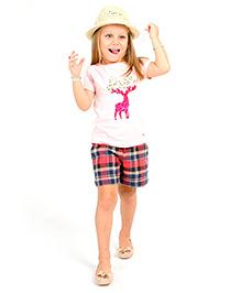 Cherry Crumble California Checks Shorts For Girls - Red & Blue