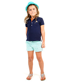 Cherry Crumble California Printed Shorts For Girls - Green & White