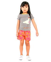Cherry Crumble California Printed Shorts For Girls - Orange