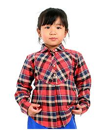 Cherry Crumble California Checkered Half Placket Shirt For Girls - Red