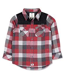 Cherry Crumble Checkered Biker Shirt With Denim Yoke For Boys - Red & Grey