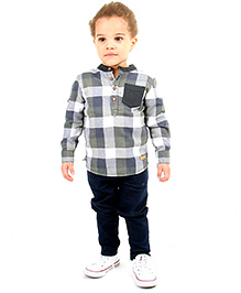 Cherry Crumble California Checks Shirt For Boys - Grey