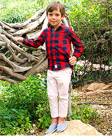 Cherry Crumble California Checkered Shirt For Boys - Red