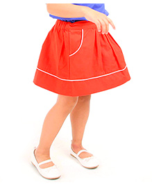 Cherry Crumble California Cotton Twill Flare Skirt For Girls - Red