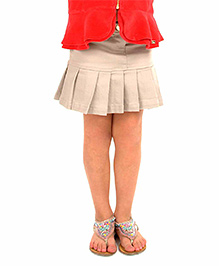 Cherry Crumble California Cotton Twill Pleated Skirt For Girls - Beige