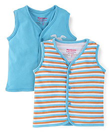 Morisons Baby Dreams Striped And Solid Color Vest - Blue & Multicolor