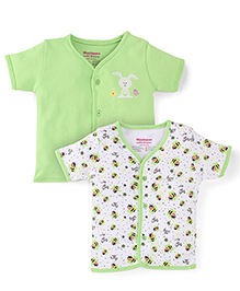 Morisons Baby Dreams Half Sleeves Vest Pack Of 2 - Green And White