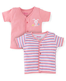 Morisons Baby Dreams Half Sleeves Vest Pack Of 2 - Pink