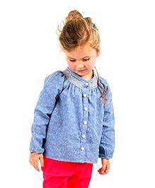 Cherry Crumble California Self Print Smocked Neck Shirt - Blue