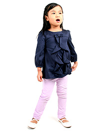 Cherry Crumble California Flare Top - Navy Blue