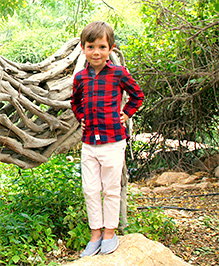 Cherry Crumble Twill Chinos For Boys - Baby Pink