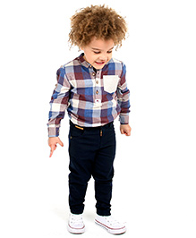 Cherry Crumble Twill Chinos For Boys - Navy Blue