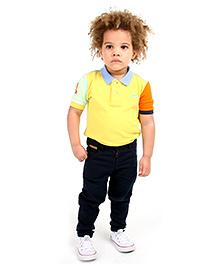 Cherry Crumble Soft Organic Cotton Cut N Sew Polo T-Shirt For Boys - Yellow