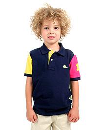 Cherry Crumble Soft Organic Cotton Cut N Sew Polo T-Shirt For Boys - Navy Blue
