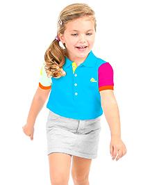 Cherry Crumble California Cut N Sew Polo T-Shirt  - Blue