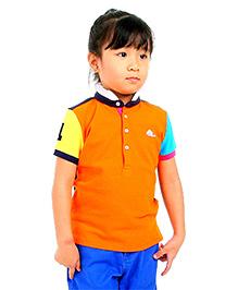 Cherry Crumble California Soft Organic Cotton Cut N Sew Polo Shirt For Girls - Orange