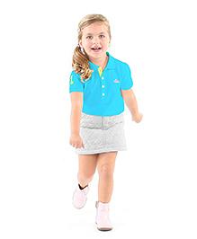 Cherry Crumble California Soft Organic Cotton Polo T-Shirt For Girls - Blue