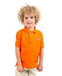 Cherry Crumble Soft Organic Cotton Polo T-Shirt For Boys - Orange & Green