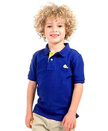 Cherry Crumble Soft Organic Cotton Polo T-Shirt For Boys - Royal Blue & Yellow