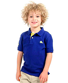 Cherry Crumble Soft Organic Cotton Polo T-Shirt For Boys - Royal Blue & Yellow