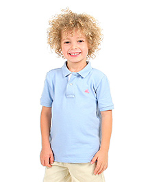 Cherry Crumble Soft Organic Cotton Polo T-Shirt For Boys - Blue & White