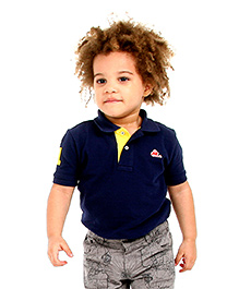 Cherry Crumble Soft Organic Cotton Polo T-Shirt For Boys - Navy Blue & Yellow