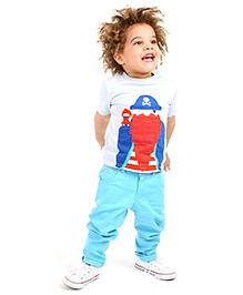Cherry Crumble Cotton T-Shirt For Boys - Blue