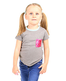 Cherry Crumble California Sequence Pocket Tee Top For Girls - Grey