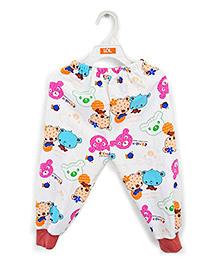 LOL Full Length Fleece Track Pants Teddy Print - White