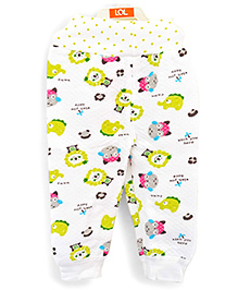 LOL Full Length Winter Track Pants Animal Print - White Green