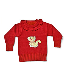 LOL Full Sleeves Sweater Animal Design - Red
