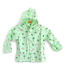 LOL Full Sleeves Hooded Top Elephant Print - Green