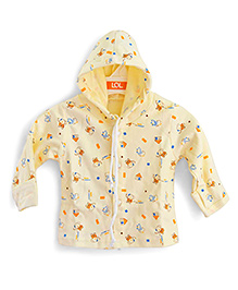 LOL Full Sleeves Hooded Top Elephant Print - Cream