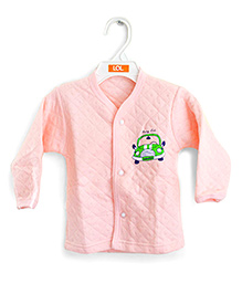 LOL Full Sleeves Quilted Vest Car Design - Peach
