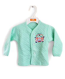 LOL Full Sleeves Quilted Vest Car Design - Sea Green