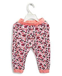 LOL Full Length Fleece Floral Track Pants Friends Print - Peach